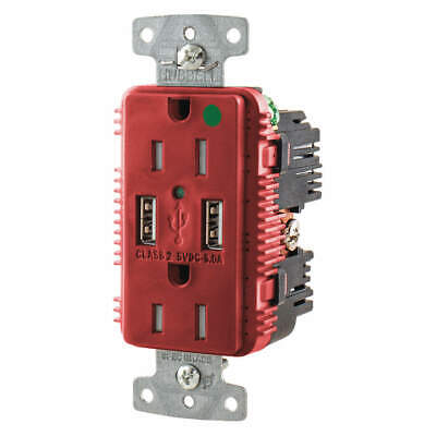 HUBBELL WIRING DEVICE-KELLEMS USB Charger Receptacle,2 Ports,2 Poles, USB8200A5R
