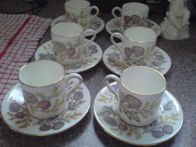'lichfield' - Wedgwood Pattern - 6 Coffee Cans & Saucers - (Set 1 Of 2 Sets) New