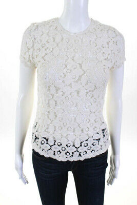 Exclusive for Intermix Creme Cotton Crochet Knit Short Sleeve Blouse Size Small