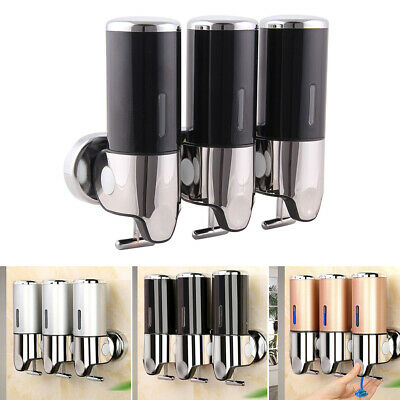 Hot 3-head Shower Soap Dispenser Shampoo Conditioner Bathroom Wall Mounted Hotel