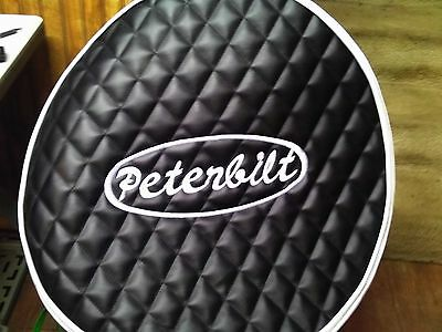 "Peterbilt Quilted 26""x2 fuel tank covers Black with White emblem with trim"