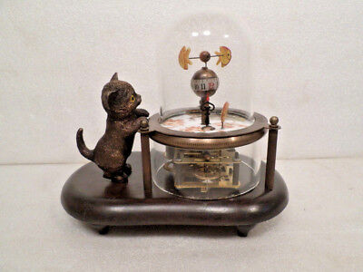Great Animated Skeletonized Fish & Kitty Clock With Wooden Base & Glass Dome