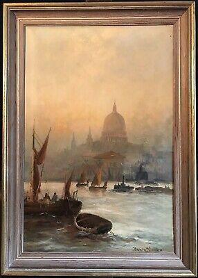 Henry Cooper - Fine Antique English Oil - The Pool Of London River Thames & City