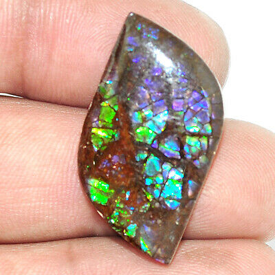Natural 17.95cts ammolite (canadian) cabochon 30x16mm fancy loose gemstone s1749