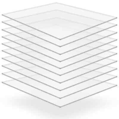 vidaXL 10x Clear Acrylic Glass Sheets 40x60cm 2mm Cut to Size Plexiglass Panel