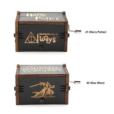 Black Harry Potter Music Box Engraved Hand Crank Wooden Music Box Kids Toys Gift