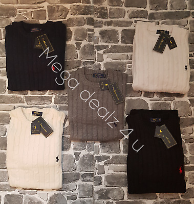 **sale** Polo Ralph Lauren New Genuine Men's Cable Knit Jumpers/long Sleeve