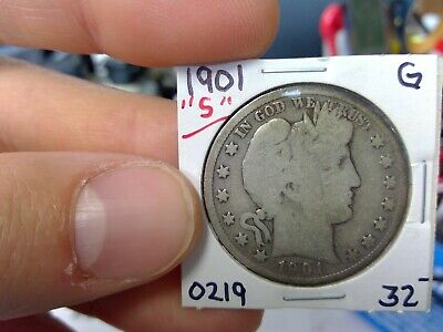 1901-S 50C Barber Half Dollar Circulated  90 % Silver US Coin  G VG ++ Rare