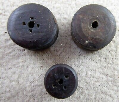 3 Antique American Wooden Bobbins For Clock Weight Cords