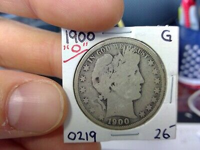 1900-O 50C Barber Half Dollar Circulated  90 % Silver US Coin Rare G VG +++