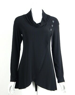 Joseph Ribkoff Tunic Top Black Cowl Neck Button Accents Long Sleeves Size 8 New