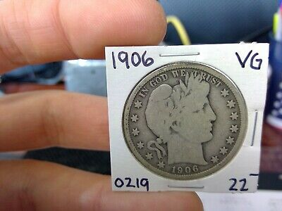 1906 50C Barber Half Dollar Circulated  90 % Silver US Coin Rare VG Fine +++