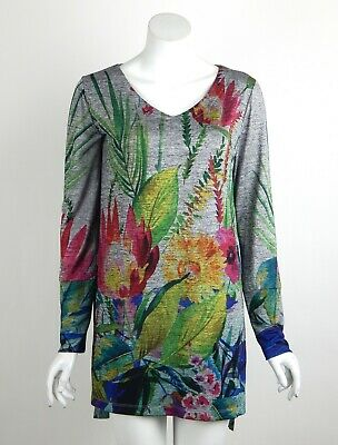 Joseph Ribkoff Tunic Top Multicolor Floral Print V-Neck Long Sleeves Size 8 New