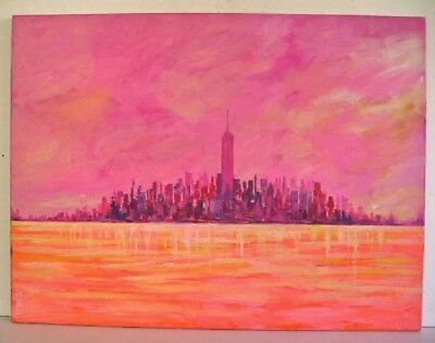 Mid Century Modern Abstract Cityscape Signed Painting