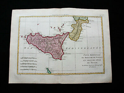 "1787 BONNE ""amazing map"" of SOUTH ITALY, SICILY, SOUTHERN KINGDOM of NAPLES..."