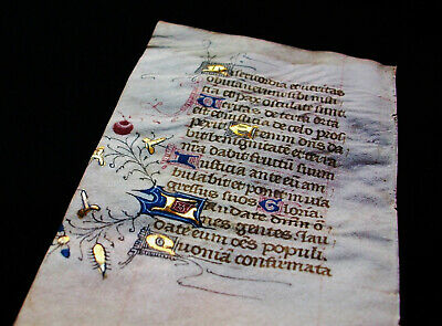 1420 Latin Medieval Manuscript on Vellum, Book of Hours, rare Illumin. leaf..W16
