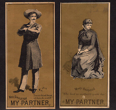 Wild West Theater 1880's MY PARTNER 2x Cards Bartley Campell Cowboy CA Gold Rush