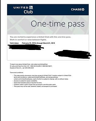 UA United Club Airline Lounge One-time Pass / E-Pass available (exp 03/01/2019)