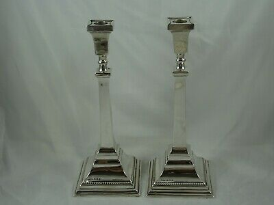 STYLISH pair,  solid silver CANDLESTICKS, 1937, 792gm