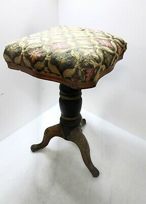 Antique Iron Footed Piano Stool Swivel Ornate Floral Upholstery