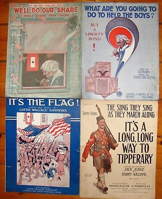 Antique Lot of 4 WW1 Patriotic & Military large format sheet music.Tipperary