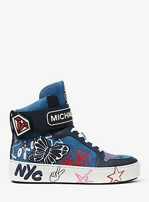 a2e840a26d280 Michael Kors Trent Embroidered Denim High-Top Sneaker 7.5 Brand New In Box