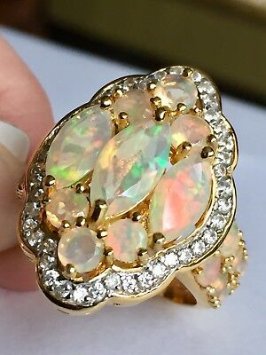 Ethiopian Welo Opal Mrq Zircon Cluster Ring in Platinum On Silver size T(4.700c