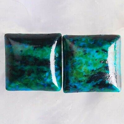 T3107 12x12x3 Pair Lapis Lazuli with Chrysocolla Square CAB Cabochons