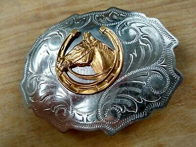 70s vtg Etched Nickle Silver Belt Buckle w/ Bronze Lucky Horse Shoe