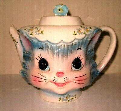 LEFTON Blue MISS PRISS CAT TEAPOT 1516 w/ STICKER Broken Repair or Mosaic parts