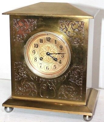 Antique Large Victorian Japy Freres French Brass Mantel Clock W/ Engraved Design