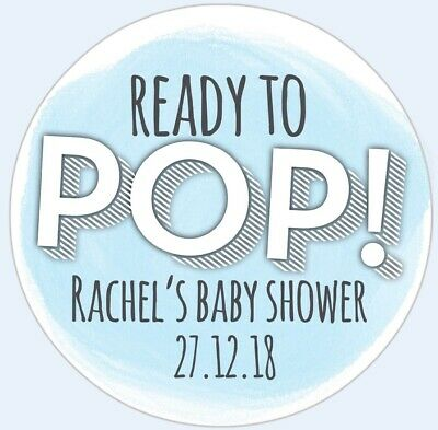 24 x READY TO POP Baby Shower Boy Personalised Stickers Pregnant Mom Party Bag