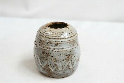 MCM North Carolina Ringed Jagged Arrow Ovoid Studio Pottery Vase Signed Eames