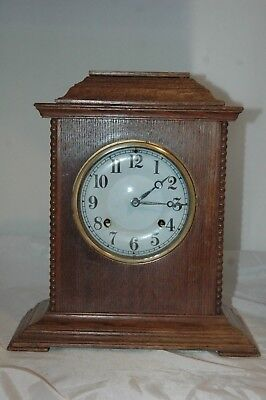 Antique Ansonia Oak Case Mantle Clock With Key & Pendulum.