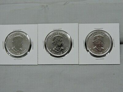2009 1 Oz .9999 Fine Silver Canadian Maple Leaf $5 Dollar Coin Lot Of 3 I-51030