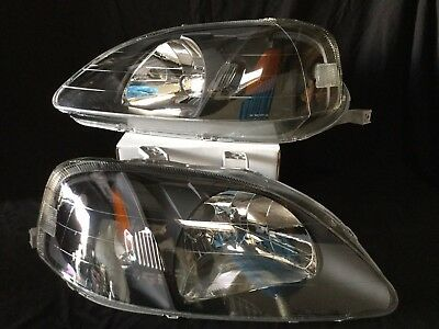 For 99-00 Honda Civic Ek/Ej/Em Black Housing Amber Side Headlight/Lamp Set