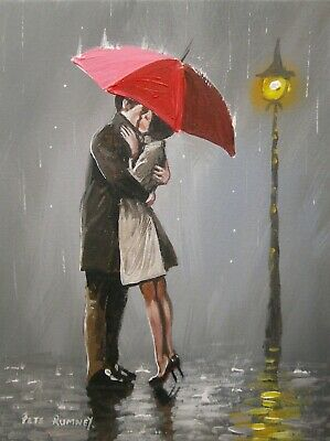 Pete Rumney Art Original Canvas Painting Kissing Rain Red Umbrella Love Artwork
