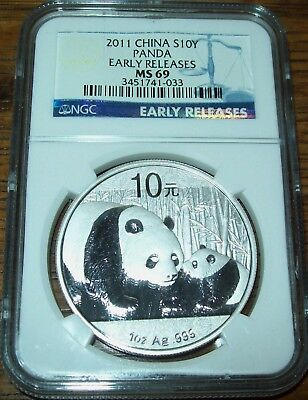 2011 NGC MS69 China Panda 10 Yuan 1 Oz. Silver Early Releases Coin