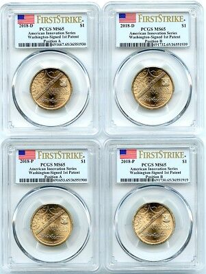 2018-PD Innovation Unc Dollars 4-Coin Set, Positions A-B, PCGS MS-65, Flashy!