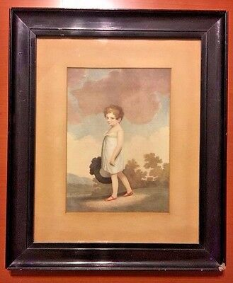 His Mother's Hope - Antique Framed Mourning Print Of Regency Period Boy