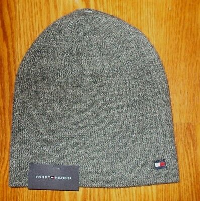4f4463356 NEW TOMMY HILFIGER Winter Beanie Hat Cap Men's Heathered Gray Flag NWT