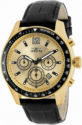 Invicta Specialty 17770 Men's Round Chronograph Date Gold Tone Clear Stone Watch