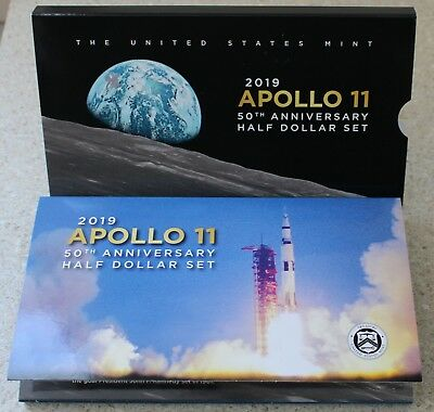 2019 S Apollo 11 50th Anniversary Curved Coin Proof Half Dollar US Mint Set New