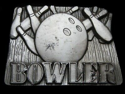 MG07157 VINTAGE 1990s **BOWLER** BOWLING BALL & PINS SPORTS PEWTER BELT BUCKLE
