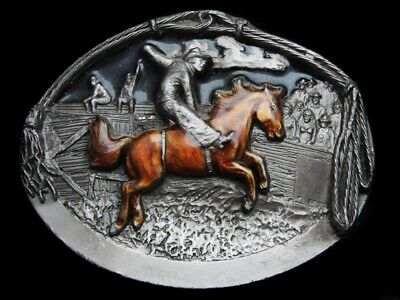 MG05145 VINTAGE 1990s **COWBOY RIDING BUCKING HORSE** PEWTER RODEO BELT BUCKLE