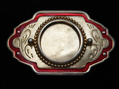 QE15167 VINTAGE 1970s **COIN OR STONE INSERT** WESTERN & COWBOY BELT BUCKLE