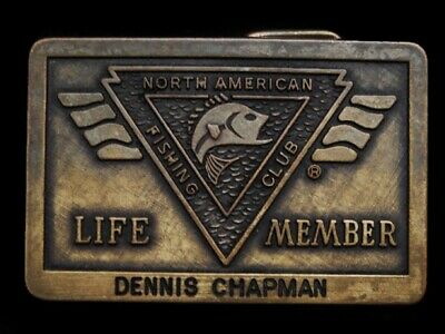 MG15128 VINTAGE 1980s **NORTH AMERICAN FISHING CLUB** LIFE MEMBER BELT BUCKLE