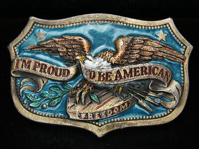 Oj03131 Vintage 1984 **I'm Proud To Be American (Eagle)** Patriotic Belt Buckle