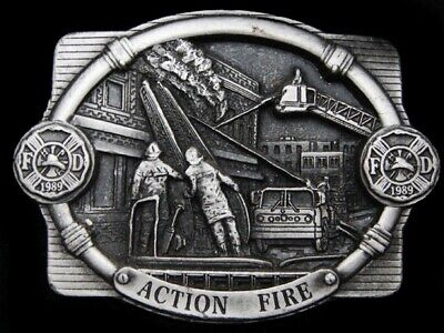 Mg07140 Vintage 1989 **Action Fire** Fire Department Pewter Belt Buckle