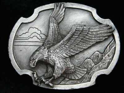 Pj15110 Vintage 1986 **American Bald Eagle** Art Pewter Siskiyou Belt Buckle